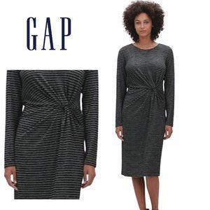 NEW GAP Metallic Stripe Twist-Knot Midi Dress SZ S